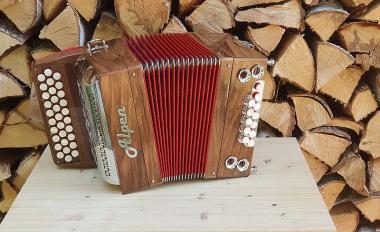 """Alpen Harmonika Modell """"Mini"""" Nussbaum G C F"""
