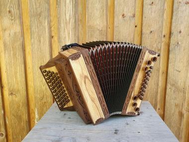 """Steirische Harmonika Alpen """"die Hölzerne"""" Ebenholz GCFB !!! NEU !!!"""