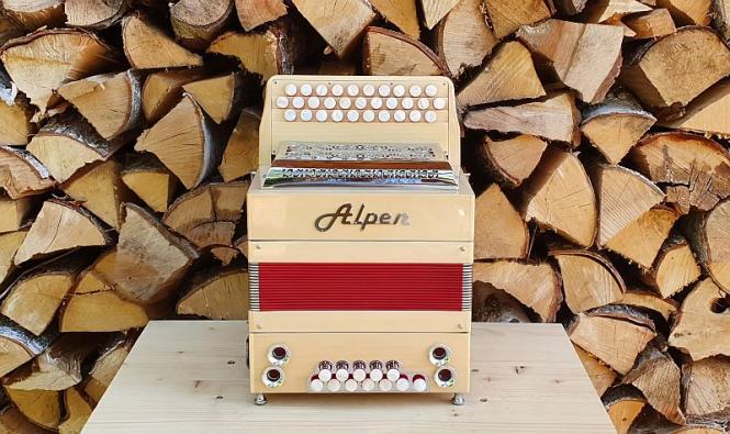"Alpen Harmonika Modell ""Mini"" Ahorn B es as"