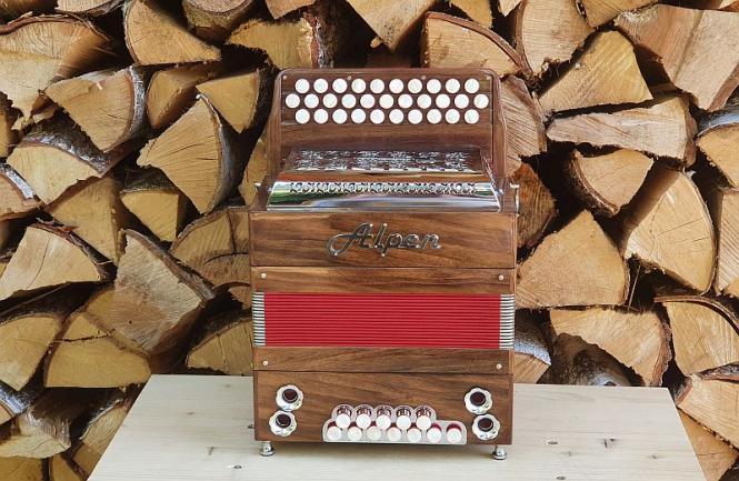 "Alpen Harmonika Modell ""Mini"" Nussbaum B es as"