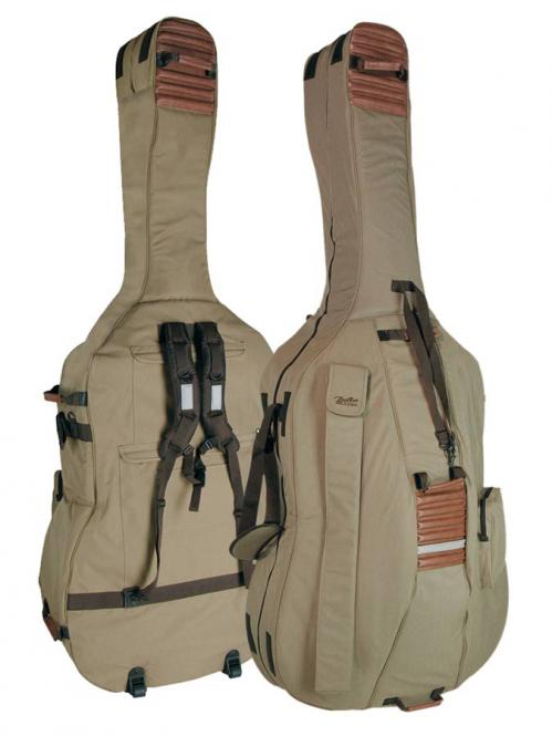 Kontrabass Tasche Gigbag Doublebass 23mm Polsterung Braun/Beige Rucksack Rollen