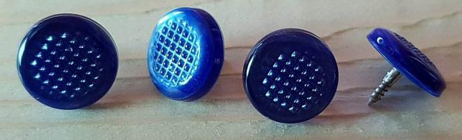 Gleichtonknöpfe geriffelt 4-er Set, blau