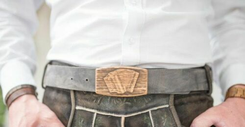 Harmonikagürtel mit Holzschnalle Länge 95 cm
