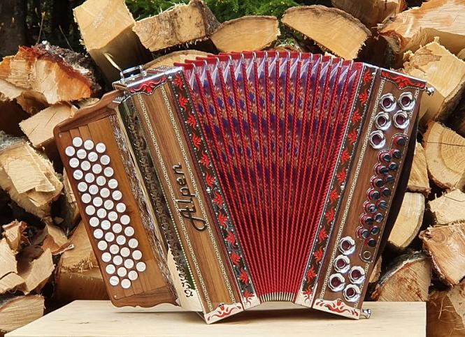 """Steirische Harmonika Alpen Classic """"Nuss-Rot"""" GCFB"""