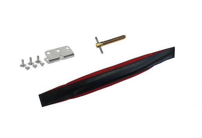 Bassriemen für 4-reihige Harmonika schwarz/rot mit Verstellerspindel